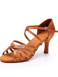 cheap -Women's Dance Shoes Satin Latin Shoes Heel Slim High Heel Black / Brown / khaki