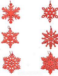 cheap -6PCs/pack Wooden Snowflakes Christmas Pendants Ornaments for Christmas Tree Party Decorations Home outdoor decor Kids Gift
