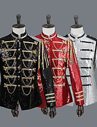 cheap -Prince Retro Vintage Medieval Coat Outfits Masquerade Men's Sequins Sequin Costume Hat Black / Silver / Red Vintage Cosplay Party Long Sleeve