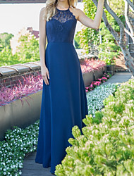 cheap -A-Line Halter Neck Maxi Chiffon Bridesmaid Dress with Appliques / Ruching