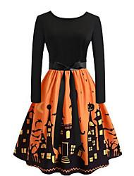 cheap -Women's Plus Size Swing Dress - Long Sleeve Geometric Black Purple Red Orange Green Royal Blue S M L XL XXL XXXL XXXXL XXXXXL