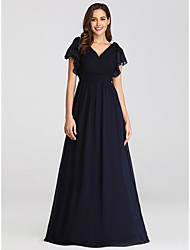 cheap -A-Line V Neck Floor Length Chiffon Short Sleeve Plus Size Mother of the Bride Dress with Ruffles / Ruching 2020 / Petal Sleeve