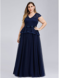 cheap -A-Line Plus Size Formal Evening Dress V Neck Short Sleeve Floor Length Lace Tulle with Sash / Ribbon 2020