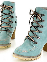 cheap -Women's Boots Chunky Heel Round Toe Suede Mid-Calf Boots Fall & Winter Blue / Pink / Beige