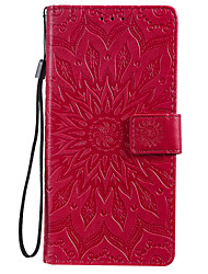 cheap -Case For Samsung Galaxy Note 10 Galaxy Note 10 Plus Phone Case PU Leather Material Embossed Datura Flowers Pattern Solid Color Phone Case
