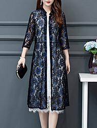 cheap -Women's Plus Size A Line Dress - Solid Colored Crew Neck Black Blue Red XL XXL XXXL XXXXL