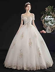 cheap -Ball Gown Wedding Dresses Off Shoulder Floor Length Tulle Short Sleeve Glamorous Sparkle & Shine with Beading Appliques 2020