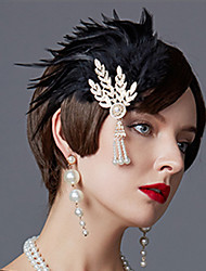 cheap -Charleston Vintage 1920s The Great Gatsby Flapper Headband Women's Feather Costume Black / Golden / Red Vintage Cosplay Festival
