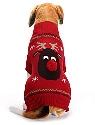 cheap -Dog Sweater Animal Reindeer Halloween Christmas Dog Clothes Black Red Costume Acrylic Fibers XXS XS S M L XL