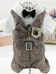 cheap -Dogs Jumpsuit Dog Clothes Blue Coffee Costume Polyster Plaid / Check Wedding XS S M L XL
