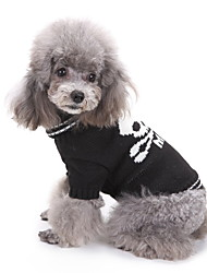 cheap -Dog Halloween Costumes Sweater Skull Holiday Halloween Winter Dog Clothes Black Costume Large Dog Polyster XS S M L XL