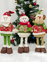 cheap -Christmas Snowman Santa Claus Dolls Christmas Home Retractable Decorations Standing Toy Birthday Party Gift Children Natal