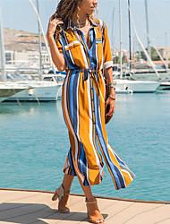 cheap -Women's Swing Dress - Color Block Yellow S M L XL