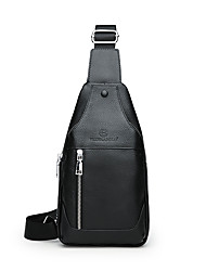 cheap -Unisex Zipper Cowhide Sling Shoulder Bag Solid Color Black / Brown