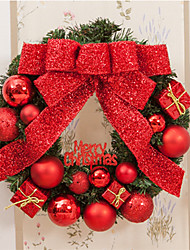 cheap -PVC Christmas Party Red Poinsettia Pine Door Wall Decoration Merry Christmas Christmas Tree Decorations