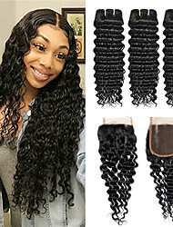 cheap -3 Bundles with Closure Peruvian Hair Curly Deep Wave Virgin Human Hair 100% Remy Hair Weave Bundles Natural Color Hair Weaves / Hair Bulk Bundle Hair Human Hair Extensions 8-24 inch Natural Color
