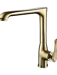 cheap -Single Handle One Hole Brushed Gold Standard Spout Centerset Contemporary Kitchen Taps