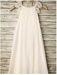 cheap -A-Line Tea Length Flower Girl Dresses Wedding Chiffon Sleeveless Jewel Neck with Lace / Holiday