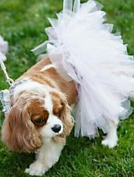 cheap -Dogs Outfits Dress Dog Clothes White Fuchsia Red Costume Net Solid Colored Wedding S M L