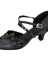 cheap -Women's Modern Shoes / Ballroom Shoes PU Buckle Heel Bowknot Cuban Heel Dance Shoes Black