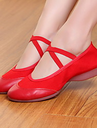 cheap -Women's Modern Shoes / Ballroom Shoes Canvas Flat Flat Heel Dance Shoes Black / Red / Performance