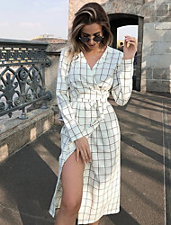 cheap -Women's Basic Sheath Dress - Plaid White Khaki S M L XL