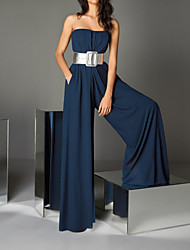 cheap -Jumpsuits Strapless Floor Length Chiffon Sexy / Blue Formal Evening / Wedding Guest Dress with Sash / Ribbon 2020