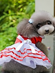 cheap -Dogs Outfits Dress Dog Clothes Red Blue Costume Polyster Striped Wedding XS S M L XL