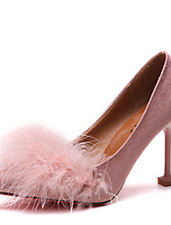 cheap -Women's Heels Stiletto Heel Pointed Toe Feather Rabbit Fur Casual / Sweet Spring & Summer Black / Pink / White / Nude