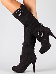 cheap -Women's Boots Stiletto Heel Round Toe Suede Mid-Calf Boots Fall & Winter Black / Brown / Gray