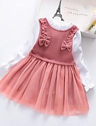 cheap -Kids Girls' Color Block Patchwork Dress Dusty Rose