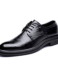 cheap -Men's Comfort Shoes Cowhide Fall Casual Oxfords Wear Proof Black / Party & Evening