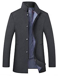 abordables -Homme Quotidien Basique Automne hiver Longue Manteau, Couleur Pleine Mao Manches Longues Polyester Noir / Chameau / Bleu Marine