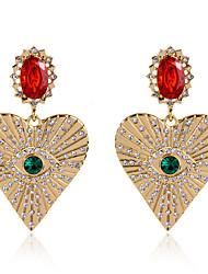 cheap -Women's Clear Green Red Drop Earrings Earrings Classic Heart Lucky Evil Eye Vintage Trendy Ethnic Fashion Boho Imitation Diamond Earrings Jewelry Gold For Daily 1 Pair