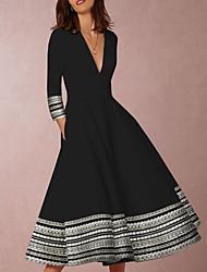 cheap -Women's Black Dress Elegant Going out Swing Geometric Deep V Print S M