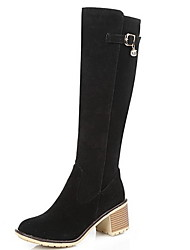 cheap -Women's Boots Knee High Boots Chunky Heel Round Toe Suede Knee High Boots Fall & Winter Almond / Black / Gray