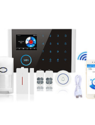 cheap -Home Alarm Systems Alarm Host Door & Window Sensor GSM + WIFI Platform GSM + WIFI Learning Code / Phone / SMS 433 Hz Remote Call Mobile APP Control Sound Alarm