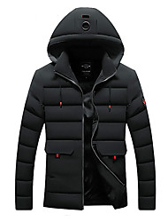cheap -Men's Daily / Beach Winter Regular Jacket, Solid Colored Hooded Long Sleeve Cotton / Polyester Black / Army Green / Blue