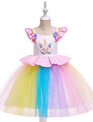 cheap -Unicorn Dress Cosplay Costume Masquerade Girls' Movie Cosplay A-Line Slip Cosplay Halloween White / Purple / Pink Dress Halloween Children's Day Masquerade Tulle Poly / Cotton Blend