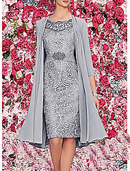 cheap -Women's Two Piece Dress Knee Length Dress - 3/4 Length Sleeve Paisley Solid Colored Lace Formal Style Spring Fall Elegant Hot Chiffon 2020 Wine Dark Blue Gray M L XL XXL 3XL