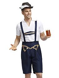 cheap -Oktoberfest Beer Outfits Lederhosen Men's Blouse Pants Bavarian Costume Black