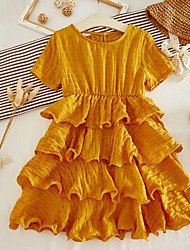 cheap -Kids Girls' Solid Colored Dress Yellow