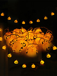 cheap -1.5m Halloween Pumpkin String Lights with 10 LED Battery Operated Halloween Decorations Indoor Outdoor for Party Wedding Patio Yard Warm White 1set