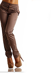 cheap -Women's Basic Chinos Pants - Solid Colored Black Blue Khaki S M L