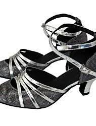 cheap -Women's Modern Shoes / Ballroom Shoes PU Buckle Heel Sparkling Glitter Cuban Heel Dance Shoes Black / Silver