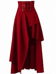 abordables -Femme Trapèze Jupes - Couleur Pleine Noir Vin Bleu Roi S M L