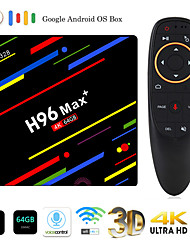 abordables -h96 max plus commande vocale smart tv box android 9.0 rk3328 lecteur multimédia 4k quadcore 4gb ram 64gb rom android 8.1 rockchip set top box 2.4g / 5g wifi h.265 h96max + tvbox usb3.0 bt