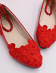 abordables -Femme Chaussures de mariage Talon Plat Bout fermé Imitation Perle / Couture en Dentelle Cuir Verni Doux / Chinoiserie Printemps & Automne Rouge / Mariage