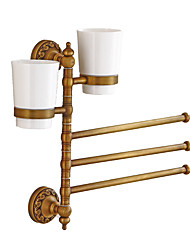 cheap -Towel Bar / Toothbrush Holder Foldable / Multilayer / Creative Antique / Traditional Brass / Ceramic Bathroom 3-towel bar Wall Mounted