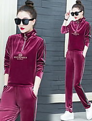 cheap -Women's Side-Stripe Streetwear Velour Tracksuit Sweatsuit 2pcs Winter High Neck Running Fitness Thermal / Warm Breathable Warm Sportswear Zip Top Pants Clothing Suit Long Sleeve Activewear Stretchy